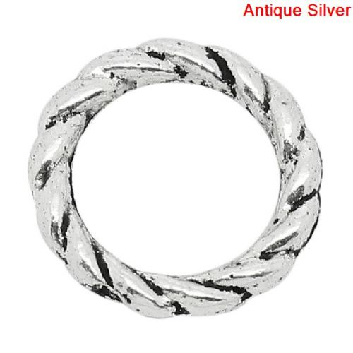 100 Twisted Antique Silver 8mm Closed Rings